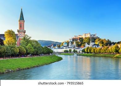 Beautiful view of Salzburg skyline with Festung Hohensalzburg and Salzach river in summer, Salzburg,Austria