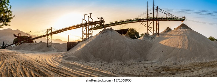 beautiful view of sand mine and mountain background.