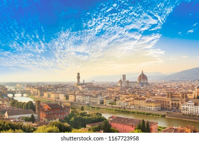 Beautiful view of Santa Maria del Fiore and Giotto's Belltower in Florence, Italy