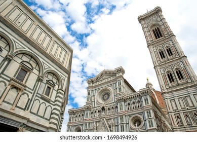 Beautiful view of the Santa Maria del Fiore. There are the Duomo, the bell tower and the Baptistery.