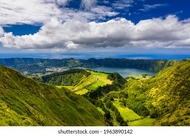 """Beautiful view of Santiago Lake """"Lagoa de Santiago """" from Hell Mouth viewpoint """"Miradouro Boca do Inferno"""" in São Miguel Island, Azores, Portugal. Lakes of Santiago and Sete Cidades, Azores, Portugal"""