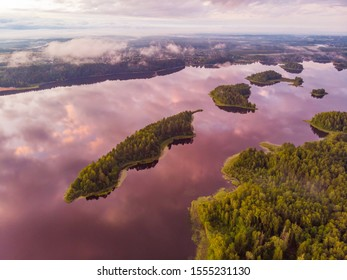 Beautiful view of Sapsho lake in summer sunset, Smolensk region, Russia. Drone shooting
