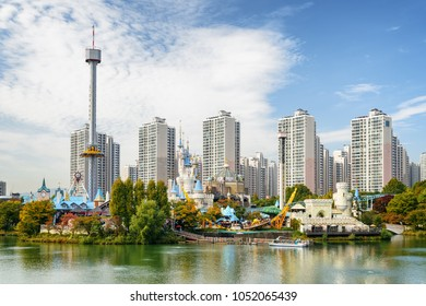 Beautiful view of scenic park at downtown of Seoul, South Korea. Residential high-rise buildings are visible on blue sky background. Wonderful cityscape. Seoul is a popular tourist destination of Asia