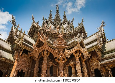 Beautiful view of a sculpture of Sanctuary of Truth temple in Pattaya, Thailand.