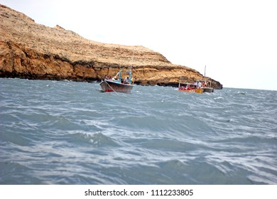 Beautiful view of sea and boat with pleasant atmosphere at charna island karachi Pakistan 17-may-2016