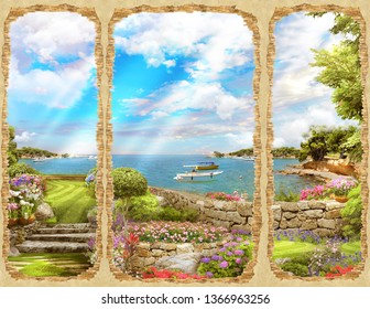 Beautiful View of the sea from the broken wall. Digital fresco. Modular panno.