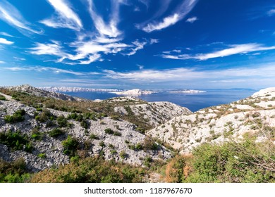 Beautiful view of the sea, islands and clouds in Croatia