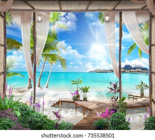 Beautiful view of the sea from the old arches, palms, sun, flowers and transparent curtains with flashlights. Digital fresco.