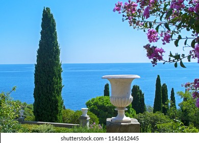 Beautiful view of sea from old park at Vorontsov Palace (Alupka, Russia). Horizon line. Blossoming oleander tree
