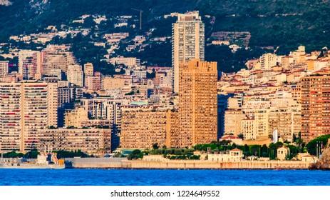 Beautiful view from the sea on landmarks Monte Carlo, Monaco