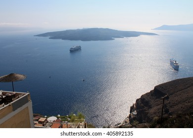 Beautiful view of the sea and a small island in Greece