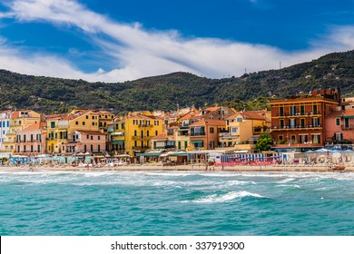 Beautiful View of Sea and Town of Alassio With Colorful Buildings During Summer Day-Alassio,Italy,Europe