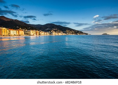 Beautiful View of Sea and Town of Alassio With Colorful Buildings During winter Day-Alassio,Italy,Europe