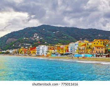 Beautiful view of the sea and the town of Alassio with colorful buildings, Liguria, Italian Riviera, region San Remo, Cote d'Azur, Italy