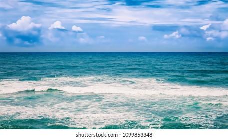 Beautiful view of sea vawes. Tropical landscape. High resolution panorama. Sri Lanka