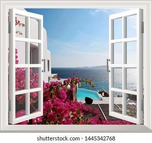 Beautiful view of sea from the window. Landscape wallpaper murals scenery window 3d.