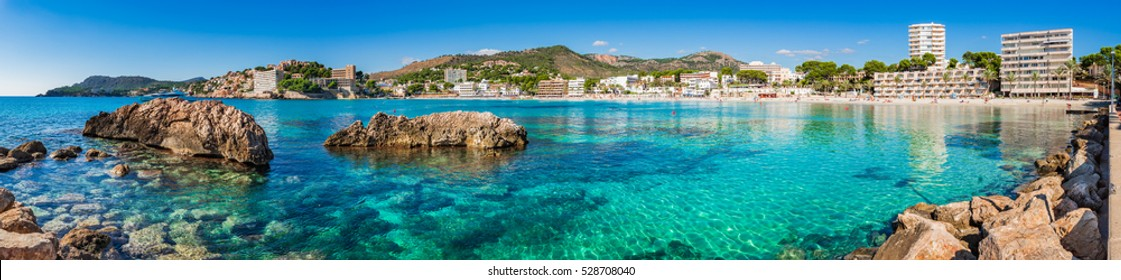 Beautiful view to the seaside of Peguera, Spain Majorca, Panorama of the beach Platja palmira