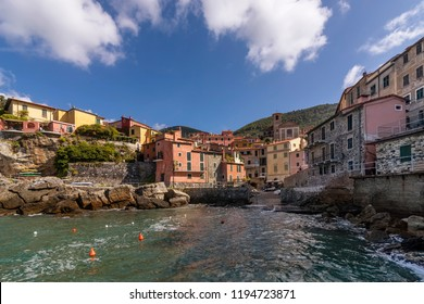 Beautiful view of the seaside village of Tellaro on a sunny day, La Spezia, Liguria, Italy