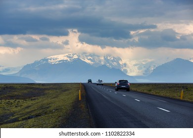 Beautiful view of seasons summer with car on the road go to glacier Skaftafell , Vatnajokull National Park at summer in Iceland