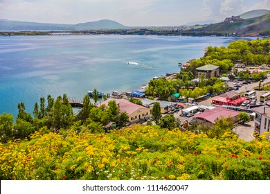 Beautiful view of Sevan lake with turquoise water and green hills, Sevan, Armenia