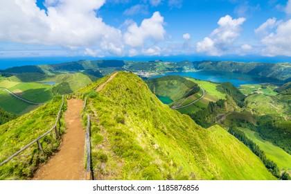 "Beautiful view of Seven Cities Lake ""Lagoa  das Sete Cidades"" from Boca do Inferno viewpoint. São Miguel Island, Azores - Portugal"