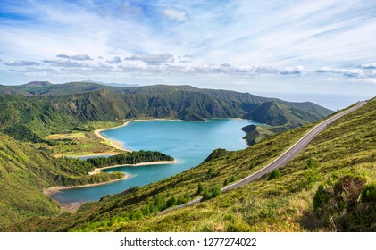 "Beautiful view of Seven Cities Lake ""Lagoa das Sete Cidades"" from Vista do Rei point in São Miguel Island - Azores - Portugal"
