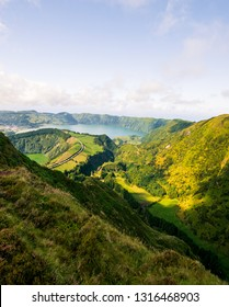 Beautiful view of Seven Cities Lake (Lagoa das Sete Cidades) from Hell Mouth viewpoint (Miradouro Boca do Inferno) in São Miguel Island - Azores - Portugal
