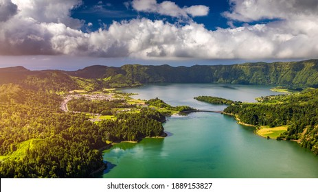 """Beautiful view of Seven Cities Lake """"Lagoa das Sete Cidades"""" from Vista do Rei viewpoint in São Miguel Island, Azores, Portugal. Lagoon of the Seven Cities, Sao Miguel island, Azores, Portugal."""
