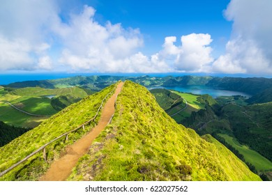 """Beautiful view of Seven Cities Lake """"Lagoa  das Sete Cidades"""" from Boca do Inferno point in São Miguel Island - Azores - Portugal"""