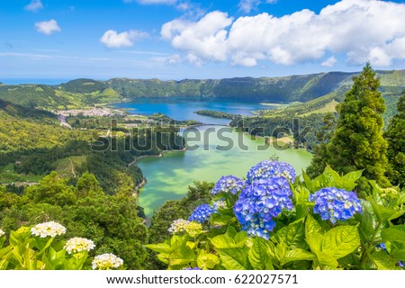 "Beautiful view of Seven Cities Lake ""Lagoa das Sete Cidades"" from Vista do Rei viewpoint in São Miguel Island - Azores - Portugal"