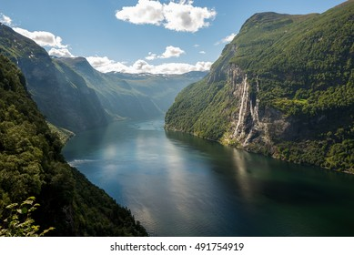 Beautiful view of the Seven Sisters in Geirangerfjord at Skagefla farm