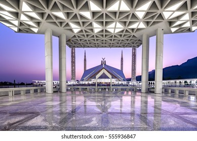 Beautiful view of Shah Faisal Mosque through the pillar. Is is located in Islamabad, capital of Pakistan.