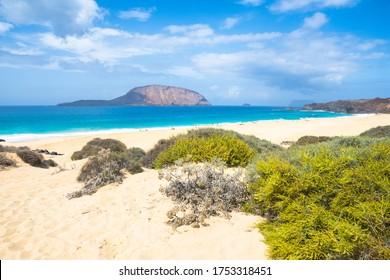 Beautiful view of Shells Beach (Playa de Las Conchas) - La Graciosa Island - Lanzarote  - Canary Island, Spain