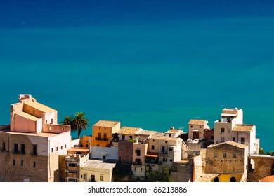 Beautiful view of sicilian city at the seashore,Castellamare del Golfo