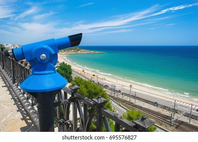 Beautiful view with sighting telescope from the Mediterranean Balcony sightseeing platform in Tarragona, Spain