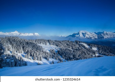 Beautiful view from the ski slopes in France, St. Gervais.