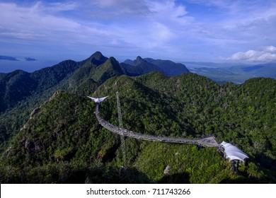 A beautiful view of Sky Bridge on top of island in Malaysia. Need to use a cable car to get here