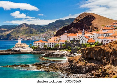 beautiful view of a small town Canical on the eastern coast of Madeira island, Portugal