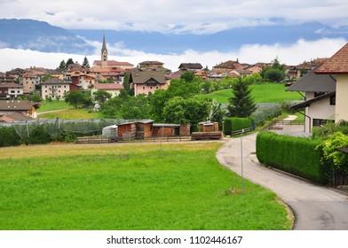 Beautiful view of Smarano village in Italian Alps on summer