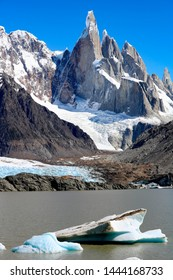 beautiful view to the snow capped mountains of Laguna Torre in Argentina