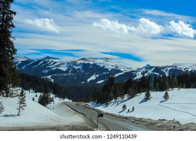 A beautiful view of the snow filled mountains in Vail, Colorado