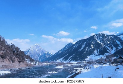 Beautiful view of snowy moutains of gurez valley kashmir.