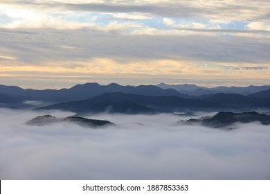 A beautiful view of Soni Village surrounded by a sea of clouds