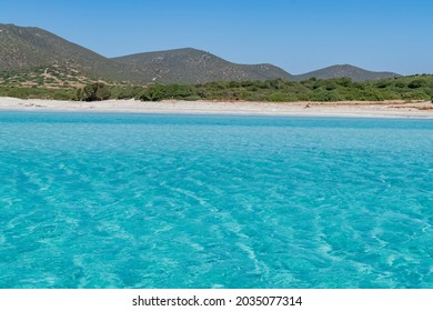 Beautiful view of the southern Sardinian sea. The incredible colors of Zafferano bay, Teulada, Italy.