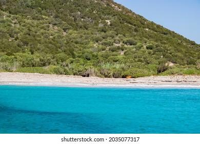 Beautiful view of the southern Sardinian sea, Teulada, Italy.