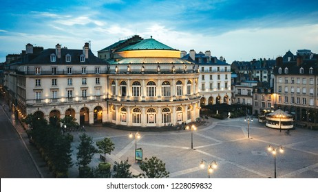 Beautiful view of the square in front of the Opera Theater of Rennes, Brittany, France.