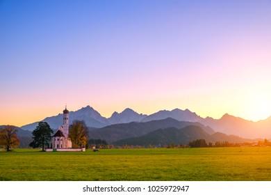 Beautiful view St. Coloman church in Oberbayern, Bavaria, Germany