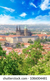 Beautiful view of St. Vitus Cathedral, Prague Castle and Mala Strana in Prague, Czech Republic