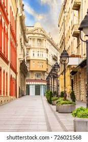 Beautiful view of the street architecture in Belgrade, Serbia