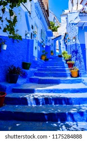 Beautiful View of Street in Chefchaouen City, Morocco